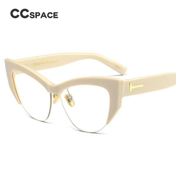 042e6868513 CCSPACE Lady s Cat Eye Glasses Frames Men Women Seme-Rimless T Rivet Brand  Designer Optical EyeGlasses Fashion Eyewear 45108