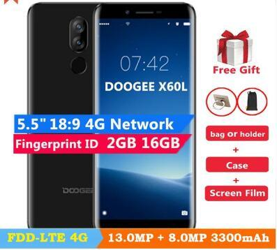 DOOGEE X60L 5.5'' MTK6737 4G LTE Quad Core 2GB RAM 16GB ROM 4G Mobile phone Dual Camera 13.0MP Android 7.0 3300mAh fingerprint Smartphone