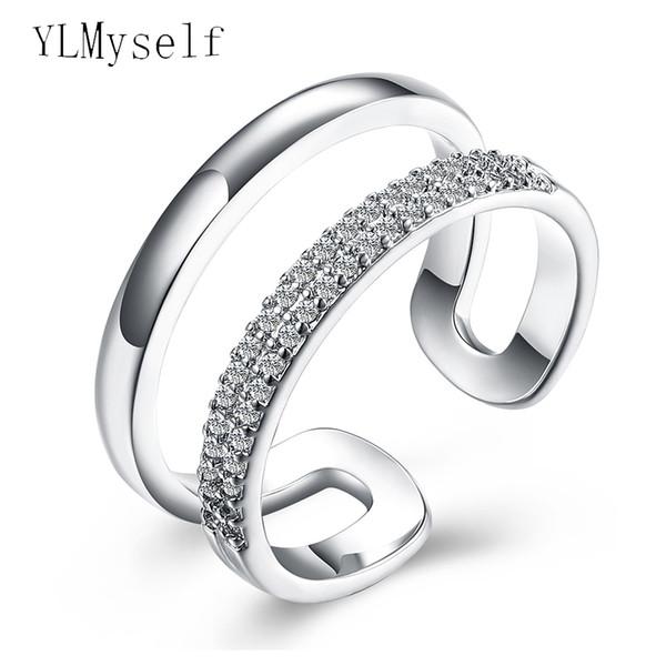 2019 Elegant Simple Jewelry Small Stones Ring Korea Design White
