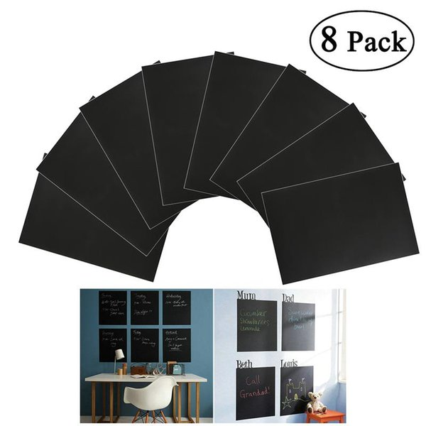 8pcs Removable A4 Size Chalkboard Wall Sticker Decal with 1 Chalk (Black)