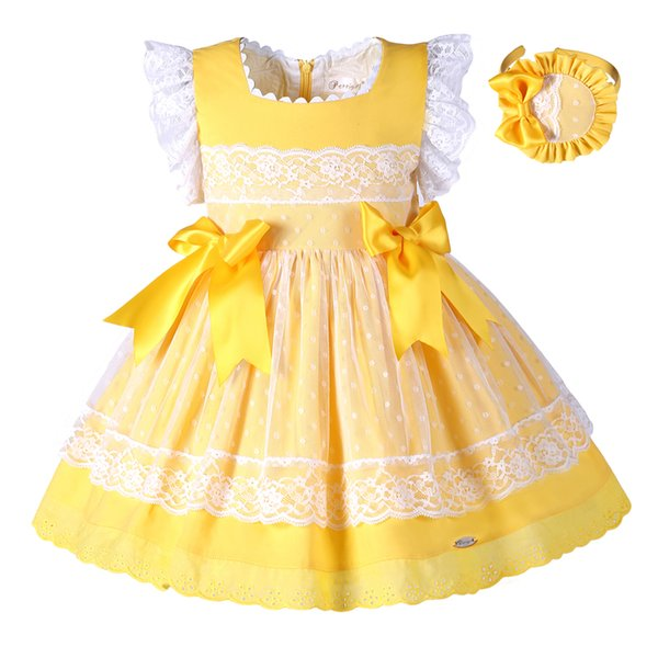 Pettigirl Easter Girl Dress Giallo Pizzo Princess Dress For Girls con Headwear e Bow Boutique Kids Designer Abiti da ragazza G-DMGD101-B171