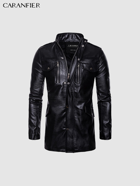 Mens Leather Jackets Mid-Long Motorcycle Windbreaker Biker Coats High Quality Multi-Pocket Stand Collar Punk Outerwear