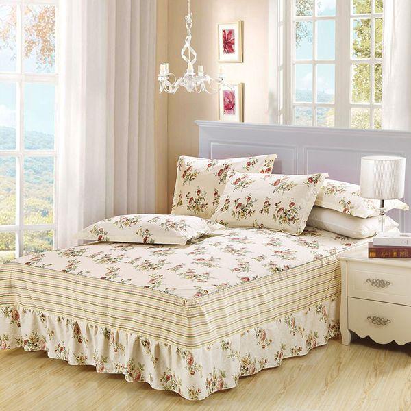 DeMissir Princess Ruffled Bed Skirt Fitted Bedsheet Twin Full Queen King Size Coverlet white blue Flower pillowcase Bedding set