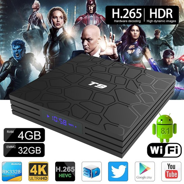 1 Piece!! T9 Android 8.1 RK3328 Quad Core TV Box 4GB 32GB Smart Media Player Support 2.4G Wifi Better MX10 H96 Max Pro Plus