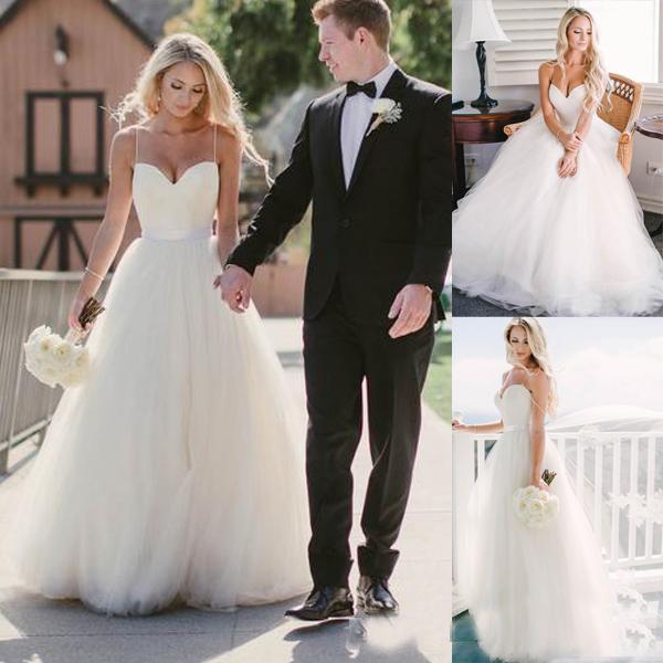 Beach Summer Wedding Dresses 2018 Tulle A-Line Spaghetti Straps Cheap Modest Plus Size Bridal Gowns vestido de novia With Sash Court Train