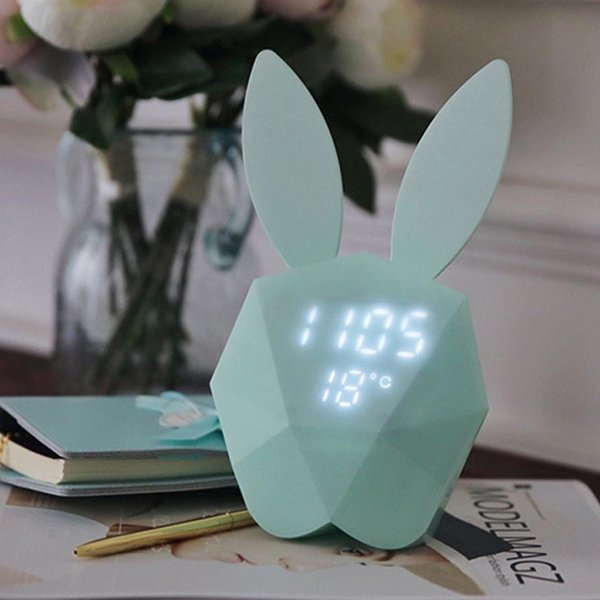 ISHOWTIENDA 2018 Rabbit Model Alarm Clock Intelligent Voice Control USB Charging Small Light high quality