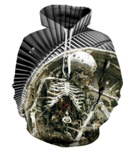Sondirane Design Skull Head 3D Print Creative Hoodies Sweatshirt Long Sleeve Hip Hop Pullover Tops Comfortable Street Tracksuits Clothing
