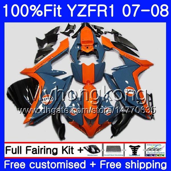 Cuerpo de inyección para YAMAHA YZF R 1 YZF-1000 YZF-R1 07 08 227HM.32 YZF 1000 YZFR1 07 08 YZF1000 YZF R1 2007 2008 Carenado naranja azul caliente Kit
