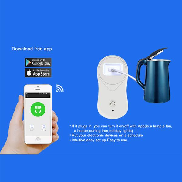 WIFI Smart Socket Wireless Timing MINI Plug Outlet Compatible con Alexa Google home Control remoto de voz de sus dispositivos desde la aplicación de teléfonos inteligentes