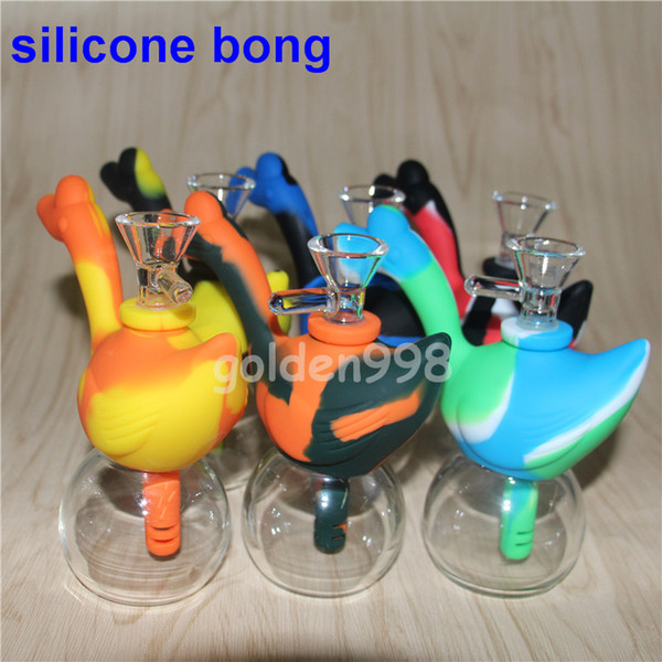 Portable Silicone Water Pipes for Smoking Dry Herb Unbreakable Water Percolator Bong Smoking Oil with glass bowl silicone bubbler bong swan