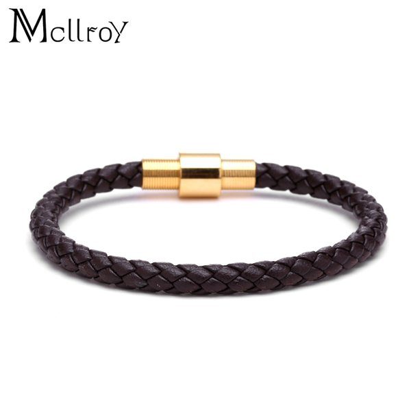 Mcllroy Gothic Titanium Stainless Steel Cord Hook Black Braided Leather Bracelets for Men Woman Bangle Jewelry