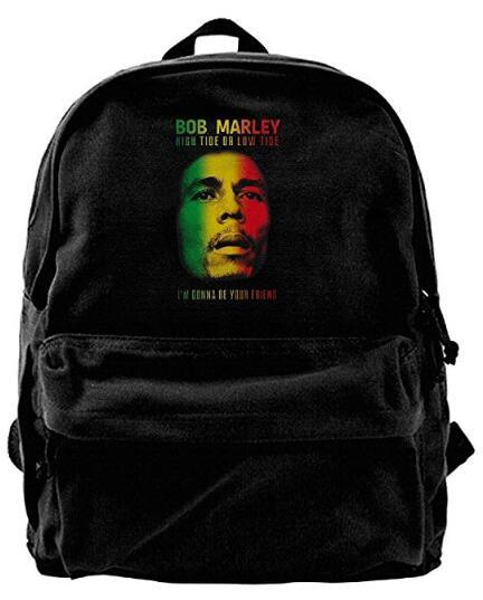 Bob Marley Rasta Moda Canvas Ombro Mochila Para HomensMulheres Adolescentes College Travel Daypack Designer mochila Preto