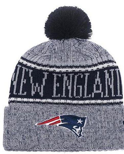 2019 Team Patriots Gorros Gorros Pom Sports Hat Hombres Mujeres Mix Orden 32 Equipos Todos Gorras Sombrero de punto Sombrero de calidad superior Más de 5000 estilos