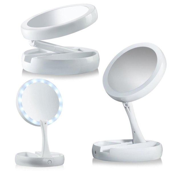 2018 My Fold Away Make Up LED Mirror 360 Degree Rotation Touch Screen Make  Up Cosmetic Folding Portable Compact Pocket