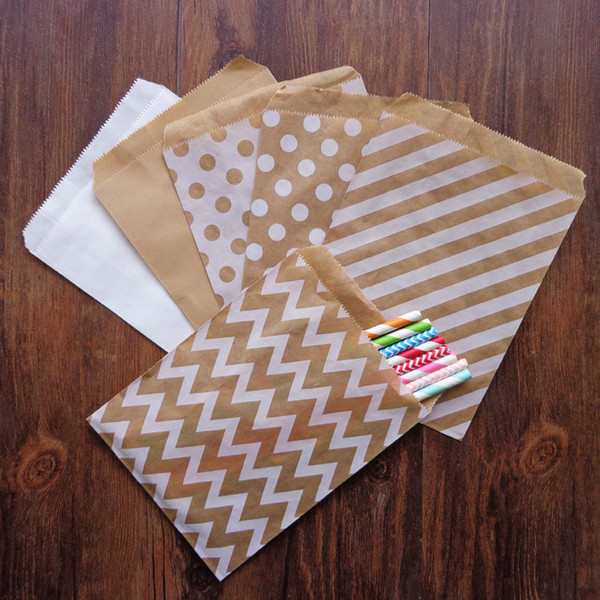 Event Party Gift Boxes Bags 25pcs Kraft White Party Favor Paper Bags Chevron Striped Dots Paper Craft Bag for Wedding Favor Candy