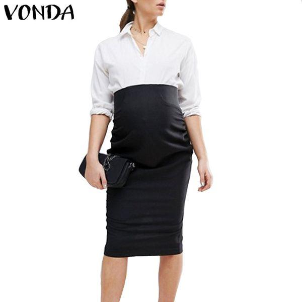 VONDA Plus Size 2018 Donne incinte Gonne al ginocchio Casual Vita alta Solido aderente Nero Split Gonne Vestiti di maternità 5XL