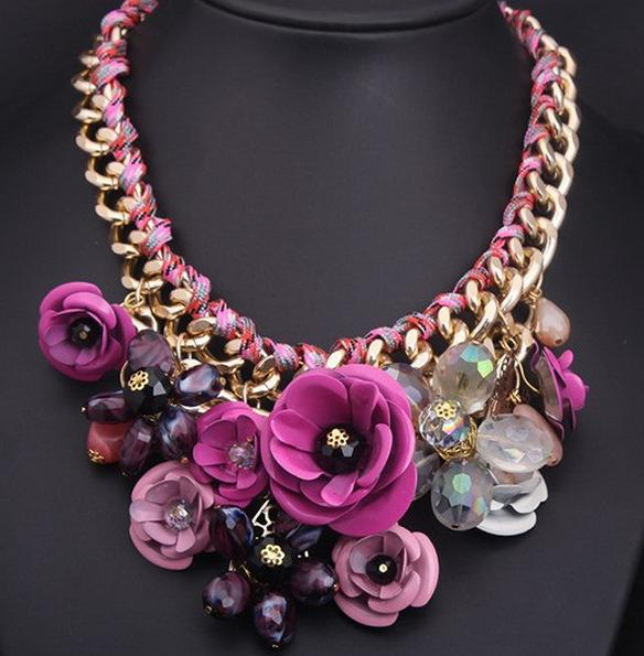 Wedding Flower Necklace Gold Color Chain Handmade Braided Crystal Flowers Necklaces & Pendants Statement Necklaces For Women