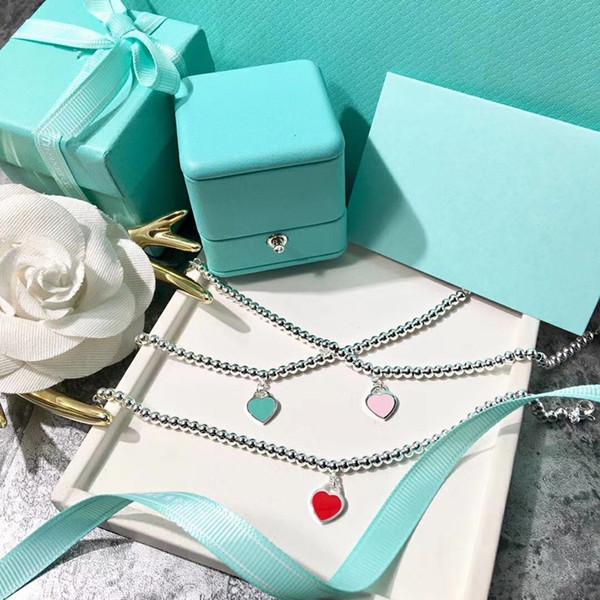 Sterling Silber Blau Rosa Rot Emaille Herzförmige Runde Buddha Armbänder Frauen Ornament Mode Luxusmarke Hochzeit Schmuck Armband