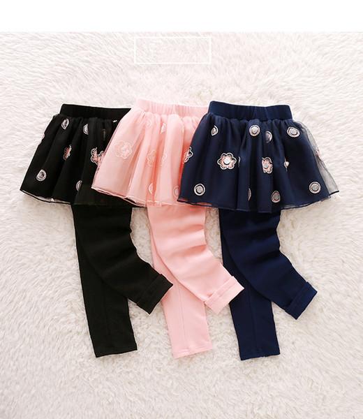 Autumn Warm Pants Cotton Girls Leggings Warm Kids Trousers Cute Print Baby Skirts mesh gauze Pants Fashion Outwear Leggings Girl Clothes