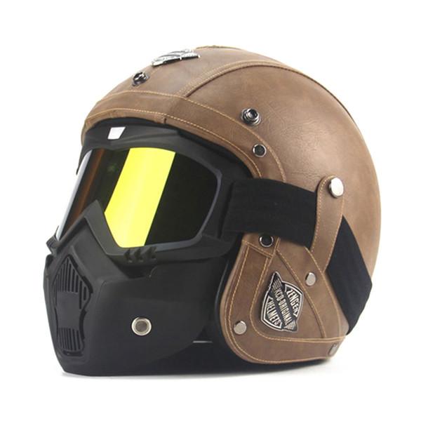 top popular New Retro Vintage German Style Motorcycle Helmet 3 4 Open Face Helmet Four Seasons Cruiser Biker Moto DOT Glasses Mask 2021