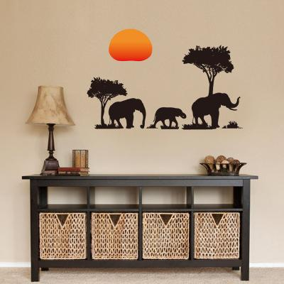 Elephant Shadow Wall Sticker Wallpaper Wall Picture Art Vintage Room Home Decor Kitchen Accessories Household Craft Suppllies