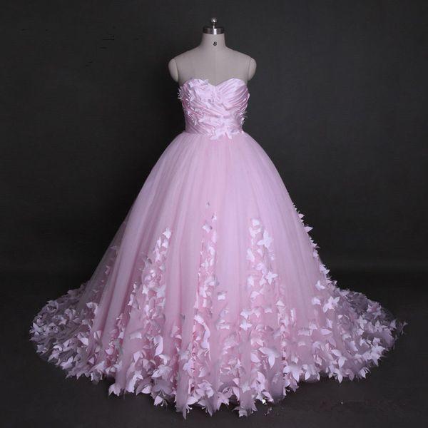 Principessa Sweetheart Bianco Avorio Rosa Applique Farfalla Abito da sposa Fata Abito da sposa Personalizzato Plus Size Occasionale formale