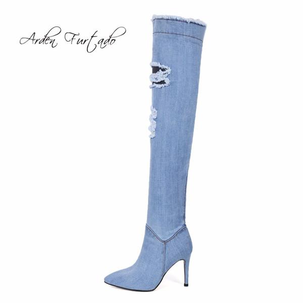 Talons Nouvelles Sur Le Genou Chaussures Femme Furtado En Bleu Acheter Pour Femmes À Denim Bottes Arden Chaussures Cuisse Hauts 2018 Montantes Bottes vmwNnO08