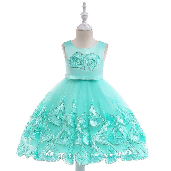 kids designer clothes Baby Girl Dress Girls Embroidery Heart Birthday Evening Party Gown Dress Beading Girls Wedding Gown Bow Dress L5033