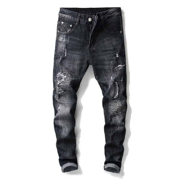 New 2018 design style European and American fashion trend handcrafted black small straight foot no play men's jeans