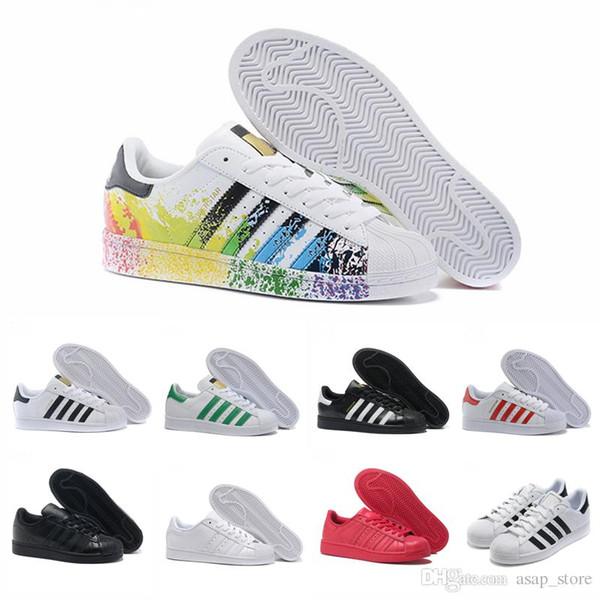 2018 Superstar White Hologram Iridescent Junior Gold Superstars Sneakers  Originals Super Star Women Men Sport casual Shoes 36-44 a37847f4565e