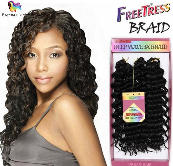 New Premium 10inch 3pcs/lot Deep Wave Synthetic Hair Extension Curly Synthetic Weave Jerry Curl Crochet Braid Freetress Deep Twist