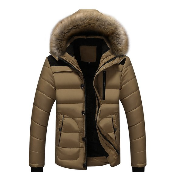 Großhandel Plus Size L 5XL Männer Starke Warme Parka Winter Reißverschluss Mantel Pelz Kragen Mit Kapuze Jacke Outwear Fashion Parkas Männlich Schlank