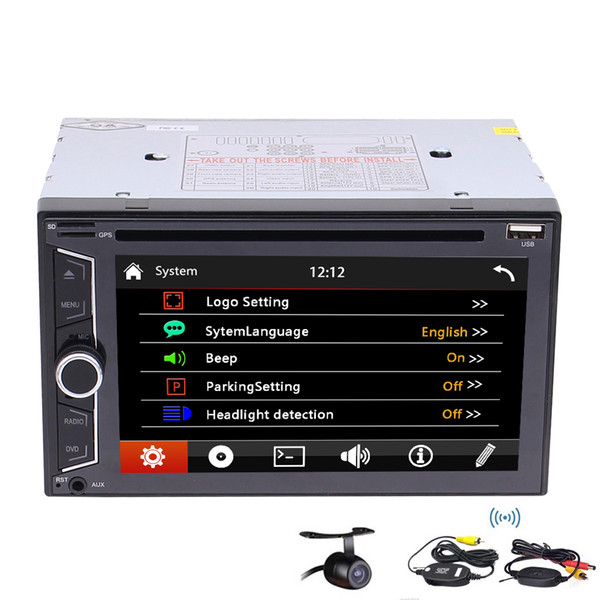 2 Din 6.2'' Auto Radio Stereo Receiver Double Din Vehicle Bluetooth Car Video in Dash 1080P car DVD Player Automotive Video Audio+camera