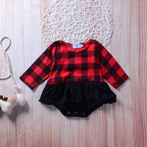 2018 Newborn Baby Girls Clothing Kids Plaid Romper Long Sleeve Tutu Ruffles Rompers Onesies Bodysuit Fashion Kid Girl Boutique Clothing