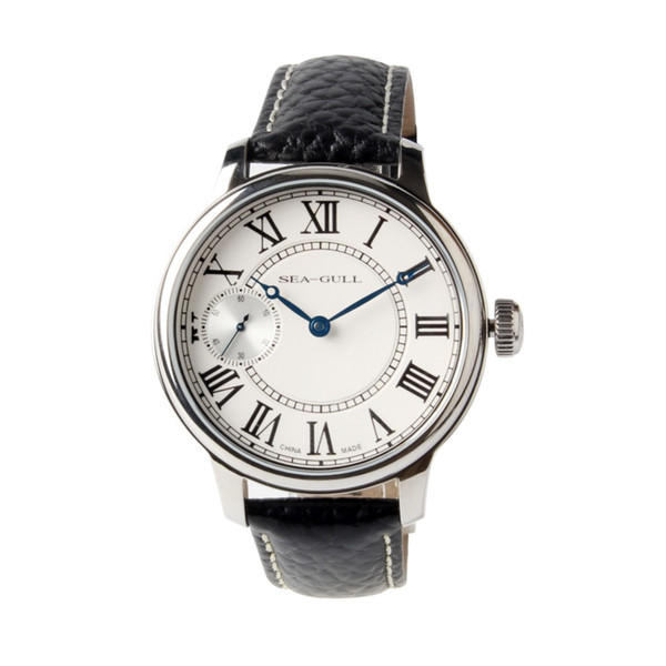 Seagull Small Second Roman Numerals ST36 Movement 6497 Mechanical Hand Wind Men's Watch Genuine Leather Band 45mm Dial