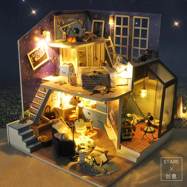 Sylvanian Families House Diy Dollhouse Hut Star Creative Hand-assembled House Model Romantic Valentine Birthday Gift Female