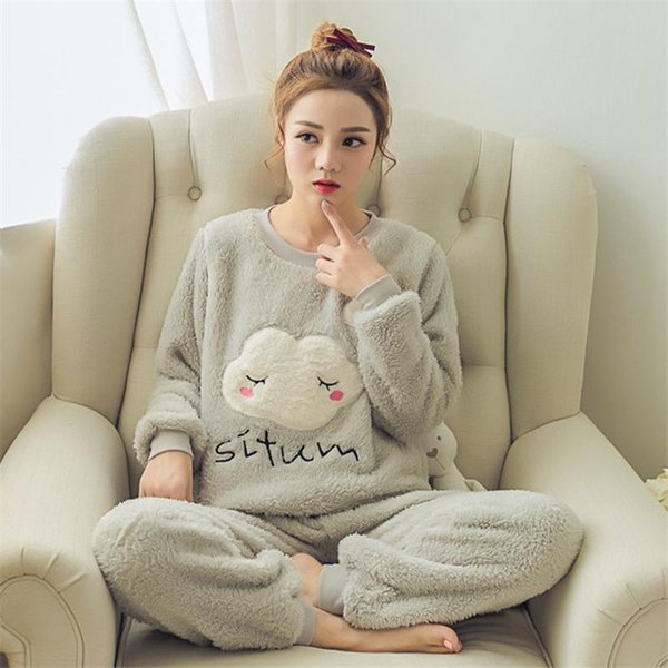 2017 Women Winter Pajamas Sets Flannel Warm Thicken Pyjamas Pajama With Animal Cartoon Sleepwear Plus Size Women's Clothing Sleep Lounge
