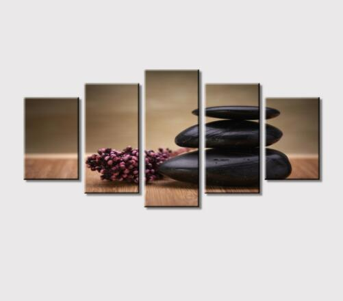 Custom 5 Panels Canvas Art Painting Melamine Sponge Board and Stone Flowers Wall Art Picture Print Decor For Room Office Decor