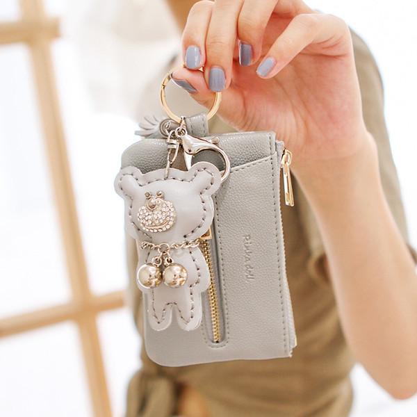 Ladies key bag Korean version of minimalist student small fresh zipper large wallet card bag