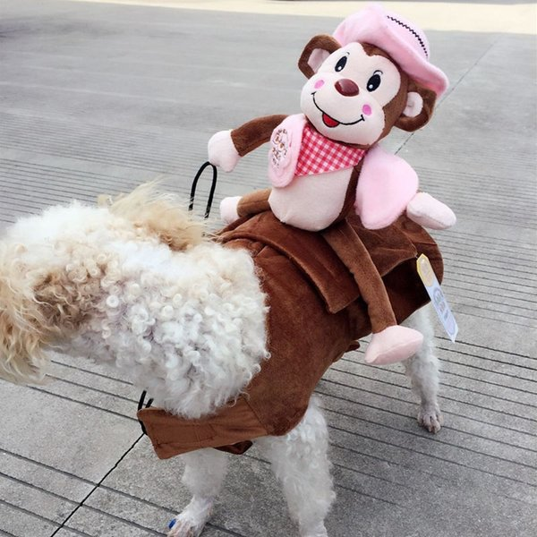 2018 New Arrival Funny Pet Costume Dog Monkey Rider Coat Clothes Cool Halloween Pet Dog Riding Uniform