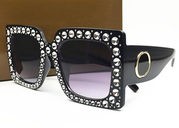 Frauen 0145 s luxus sonnenbrille großen quadratischen rahmen elegante special design mit diamant strass rahmen eingebaute runde linse mit fall