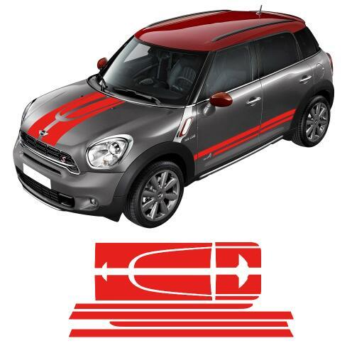 Car Side Side Stripes Hood Trunk / Rear Bonnet Engine Cover Decal Sticker per MINI Cooper Countryman 2013-2016 - 4 colori