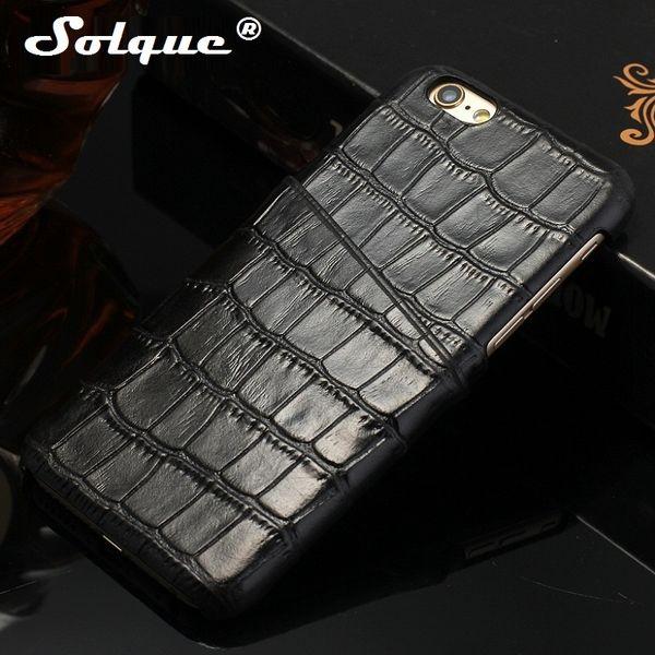 Solque-echtes Leder-Kasten für Iphone 7 8 Plus-Handy-echtes Leder-Karten-Halter-dünne Abdeckungs-Fälle Luxus3d Krokodil-Entwurf