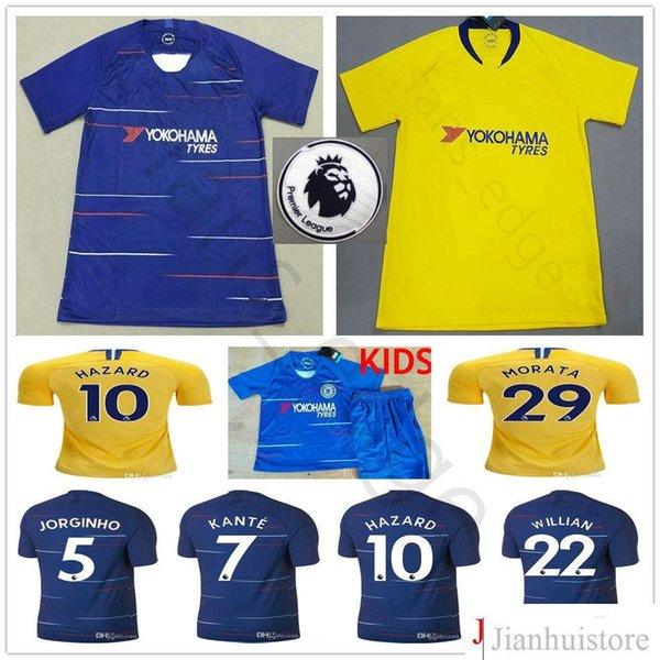 new concept d5527 44cea 2018 2019 Chelsea Fc Soccer Jersey Hazard Kante Jorginho Giroud Morata  Willian Bakayoko Rudiger Custom 18 19 Men Women Kids Youth Football Shirt  From ...