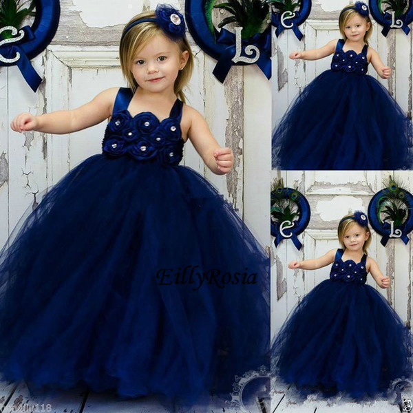 Navy Blue Kid Evening Gowns for Weddings Handmade Flowers Crystals Tulle Ball Gown Little Flower Girl Dresses for Babies Custom Made Size