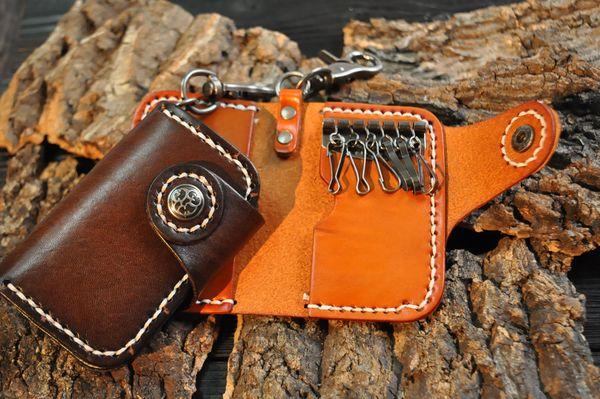 Free DHL Fashion Men Portable Key Holder Organizer Wallet Key Chain Bag Handmade Leather Card Pouch Car Keychain Bag Multifunction Wallet F