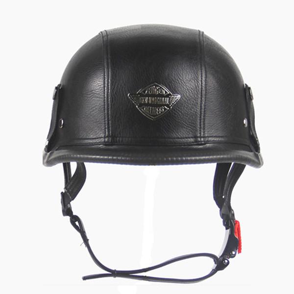 Deutsch Open Face Hälfte Pu-leder Helm Moto Motorrad Helme vintage Motorrad Kopfbedeckungen Casque Casco Für Harley helm