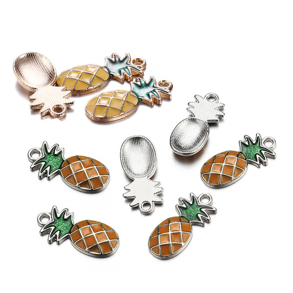 100PCS/lot 24X11mm Wholesale Fashion Cute Gold Silver Color Enamel Pineapple Charms Fit Necklace s Pineapple Pendant Handmade Jewelry Making