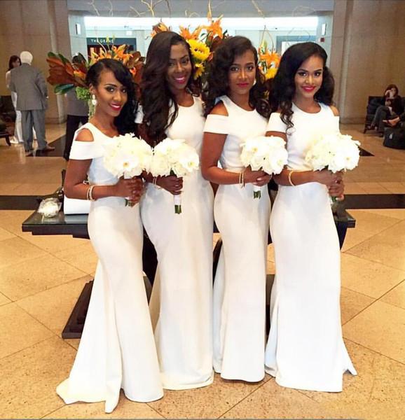 White Satin African Mantel Brautjungfer Kleider Long 2019 Sexy Short Sleeves Hochzeit Gast Kleider nach Maß Sexy Long Maid Of Honor Kleider