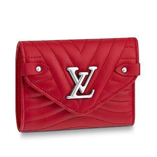 2019 M63428 NEW WAVE COMPACT WALLET red Real Caviar Lambskin Chain Flap Bag LONG CHAIN WALLETS KEY CARD HOLDERS PURSE CLUTCHES EVENING